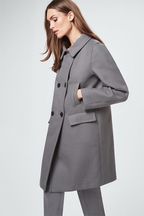 Doppelreiher-Mantel in Grau