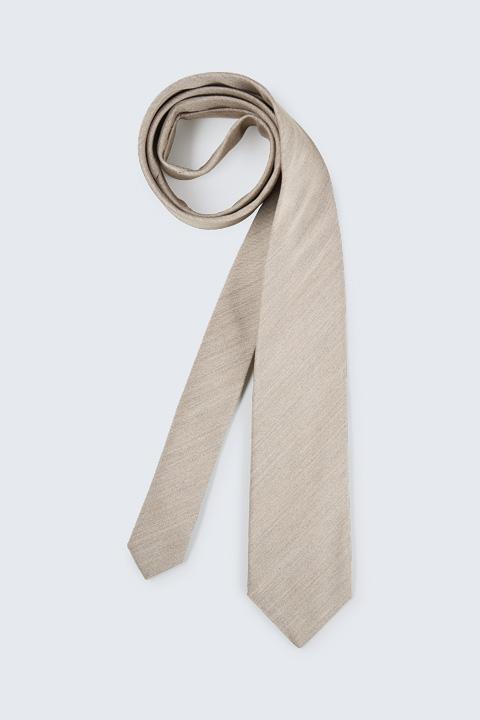 Krawatte mit Seide in Beige meliert