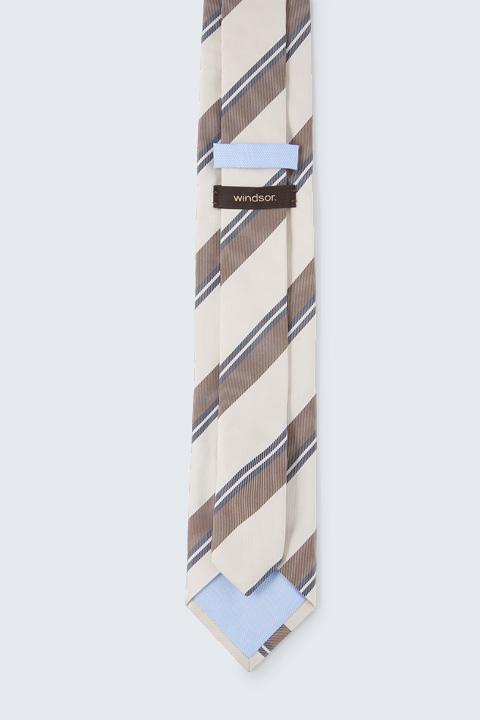 Krawatte mit Seide in Beige-Braun-Navy