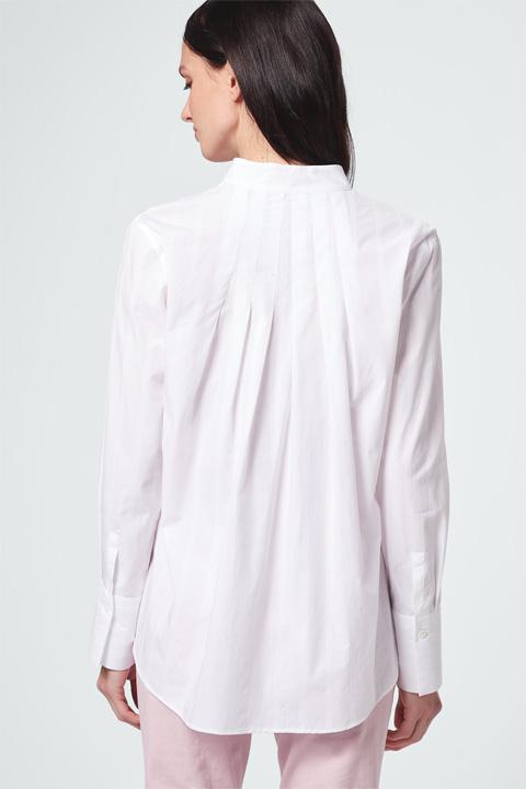Bluse strukturiertem Streifenmuster Weiß