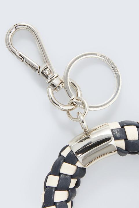 Geflochtener Schlüsselanhänger in Navy-Creme