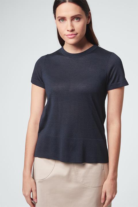 Seiden-Shirt in Navy