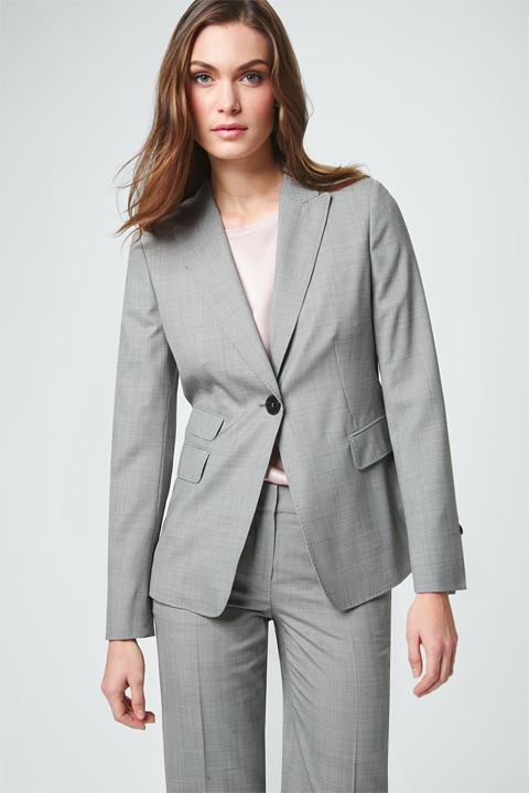 Schurwoll-Blazer in Grau gemustert