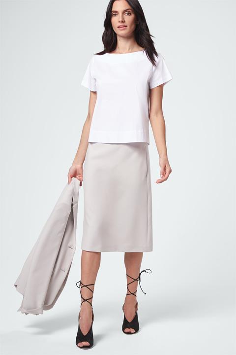 Echt klasse: Baumwollstretch-Kurzarm-Bluse Weiß Idee