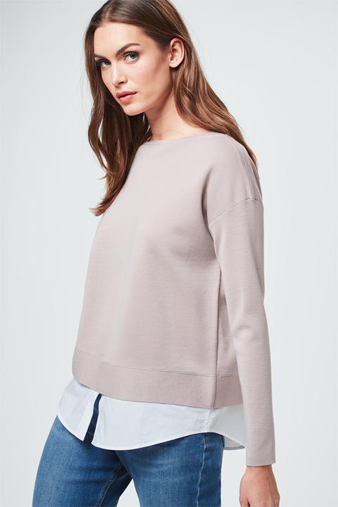 Pullover mit Blusendetail in Beige