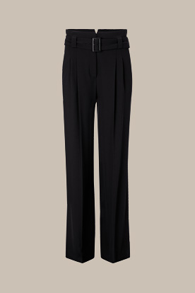 Iconic Tailoring Wollcrêpe-Palazzo-Hose in Schwarz