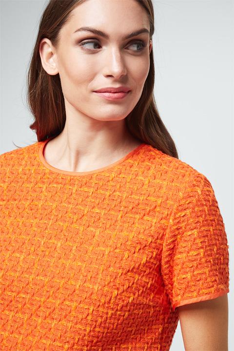 Bouclé-Bluse in Orange