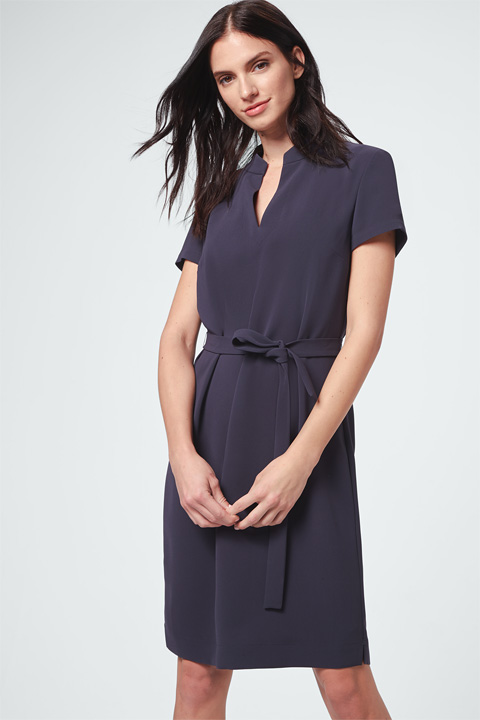 Optimal: Crêpe-Kleid Gürtel Navy Deal