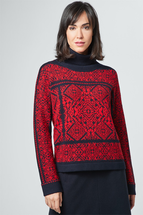 Pullover mit Alpaka in Rot-Blau gemustert