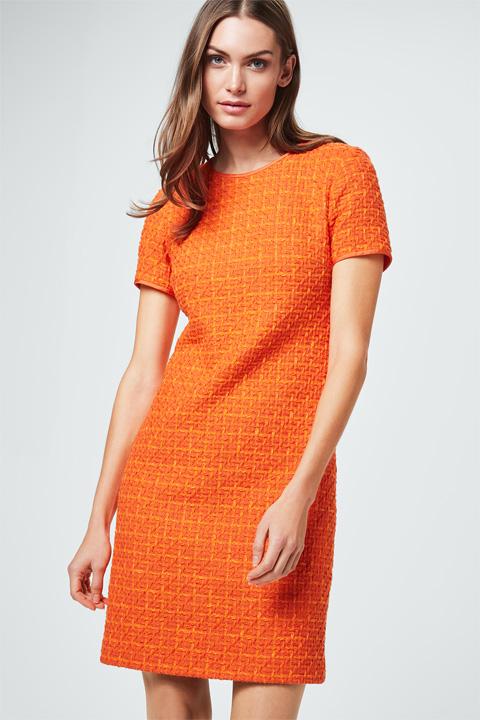 Bouclé-Kleid in Orange