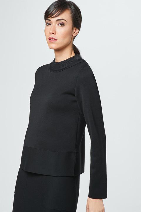 Feinstrick-Pullover in Schwarz