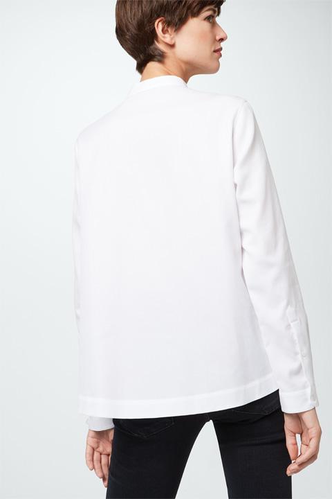 Pique-Baumwoll-Bluse in Weiß