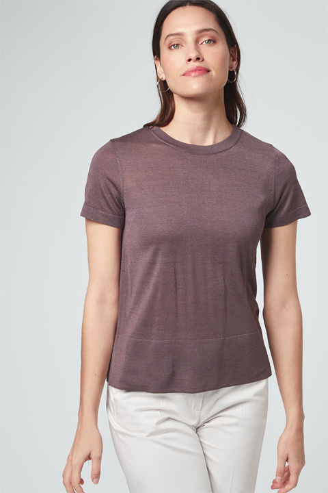 Seiden-Shirt in Braun