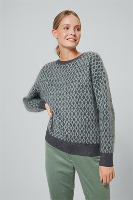 Double-Strick-Pullover in Anthrazit-Mint gemustert