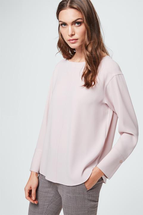 Crêpe-Bluse in Puder-Rosé