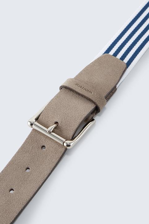 Gürtel mit Leder-Detail in Navy-Weiß gestreift