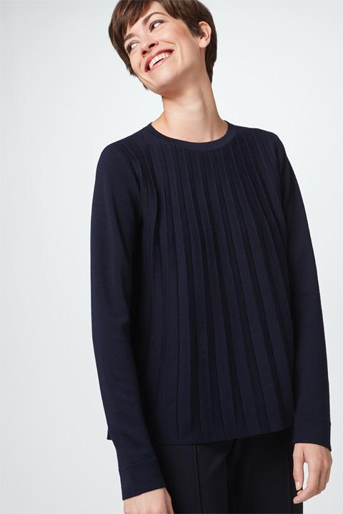 Pullover mit Plisséefalte in Navy