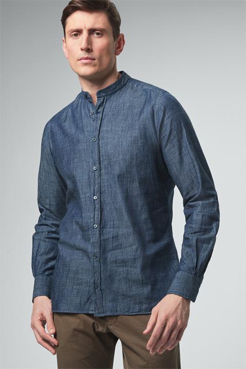 Jeans-Stehkragen-Hemd in Dunkelblau