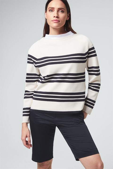 Pullover in Navy-Weiß