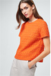 Bouclé-Bluse in Orange