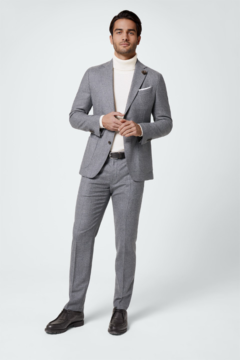 Travel Jersey-Flanell Baukasten-Anzug in Grau meliert