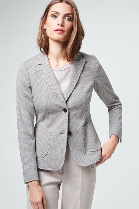 Jersey-Blazer in Grau-Weiß gemustert