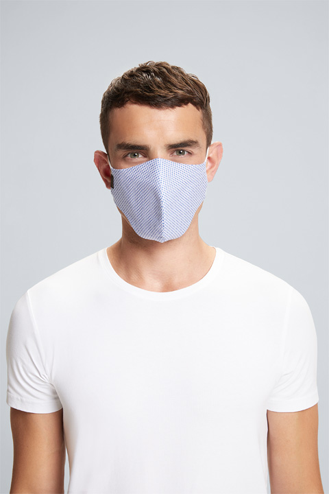 Mund-Nasen-Maske Smooth in Hellblau-Navy, unisex