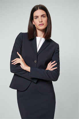 Kurzer Schurwoll-Stretch-Blazer in Navy