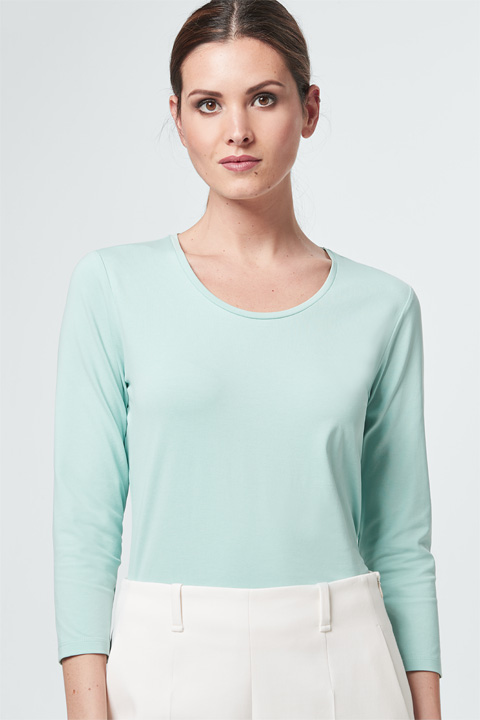 Jersey-Shirt in Mint-Grün