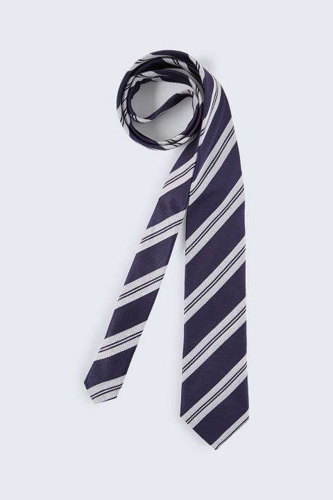 Krawatte mit Seide in Navy-Hellgrau