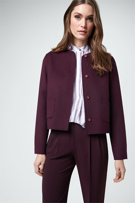 Double-Blazer mit Kaschmir in Bordeaux