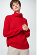 Schurwoll-Pullover in Rot