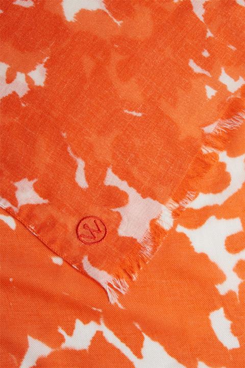 Tuch mit Kaschmir in Orange-Weiß gemustert