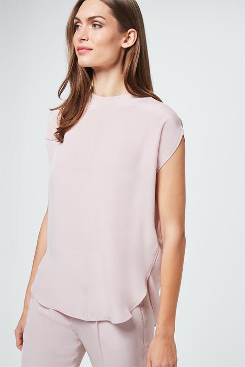 Seiden-Cady-Bluse in Puder-Rosé
