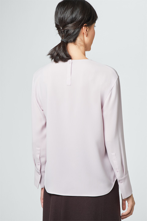Crêpe-Bluse in Rosé
