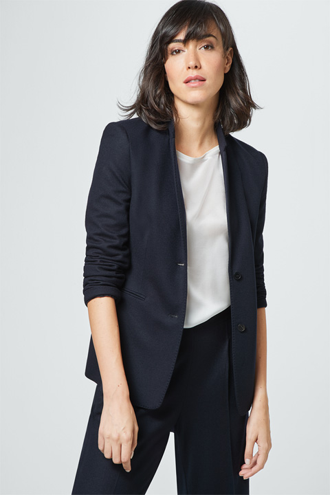 Wolljersey-Blazer in Navy