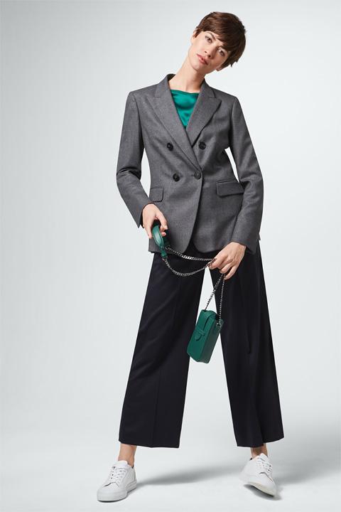 Flanell-Doppelreiher-Blazer in Grau melange