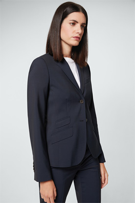 Schurwoll-Stretch-Blazer in Navy
