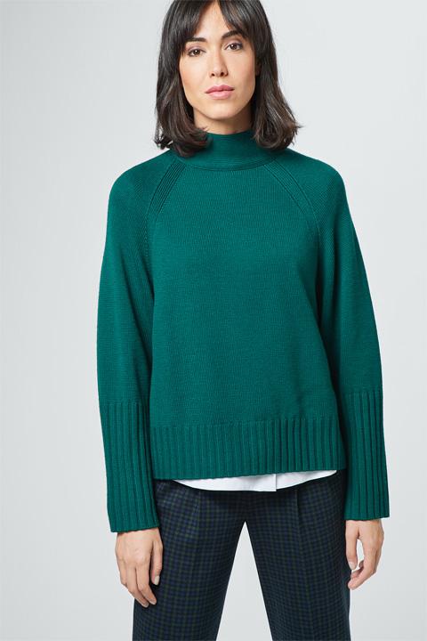 Strick-Pullover in Dunkelgrün