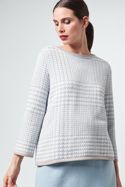 Strick-Pullover in Hellblau-Weiß gemustert