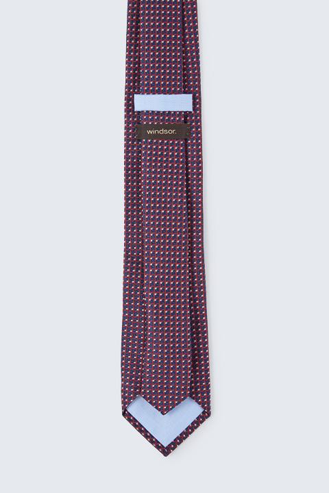 Seiden-Krawatte in Navy-Rot