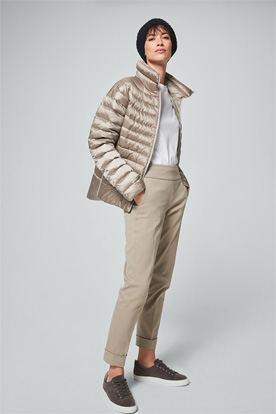 Daunen-Steppjacke in Beige Metallic