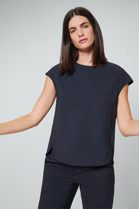 Schurwoll-Stretch-Kurzarmbluse in Navy