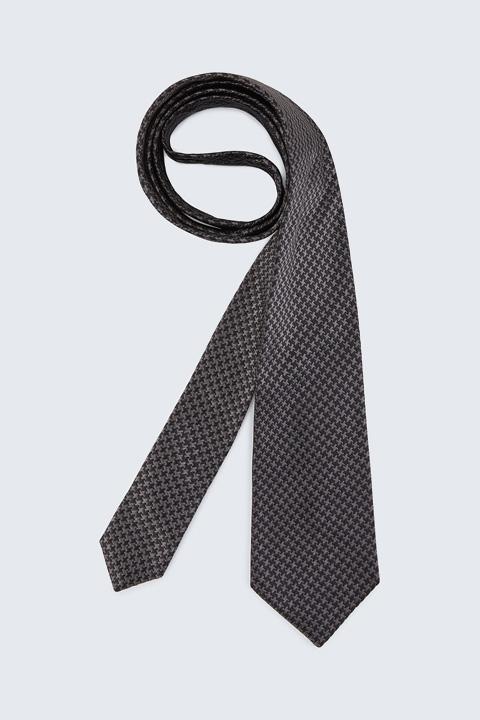 Seiden-Krawatte in Grau-Schwarz gemustert