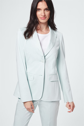 Baumwollsatin-Longblazer in Mint