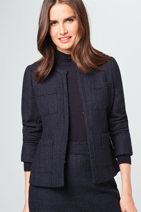 Bouclé-Blazer in Navy