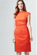 Popeline-Kleid in Orange