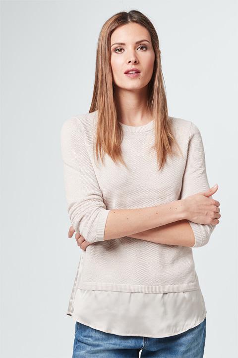 Seiden-Strick-Pullover in Creme