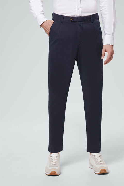 Baumwoll-Stretch-Chino Fiano in Navy