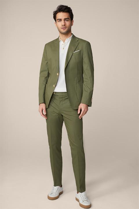 Solerto Santios Modular Cotton Satin Suit in Olive